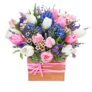 Цветы в коробке «Счастливое мгновенье»